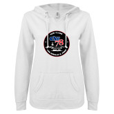 ENZA Ladies White V Notch Raw Edge Fleece Hoodie-CVN 78