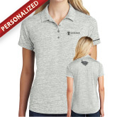 Ladies Silver Electric Heather Polo-ISCVN