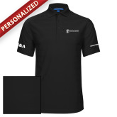 Black Horizontal Textured Polo-HR and A