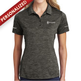 Ladies Charcoal Electric Heather Polo-Navy Programs