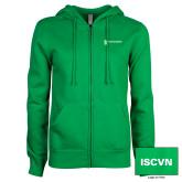 ENZA Ladies Kelly Green Fleece Full Zip Hoodie-ISCVN