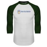 White/Dark Green Raglan Baseball T Shirt-Newport News Shipbuilding