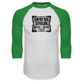 White/Kelly Green Raglan Baseball T Shirt-NNS Vintage