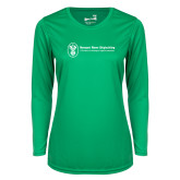 Ladies Syntrel Performance Kelly Green Longsleeve Shirt-Newport News Shipbuilding