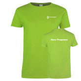 Ladies Lime Green T Shirt-Navy Programs