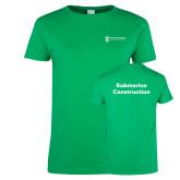 Ladies Kelly Green T Shirt-Submarine Construction