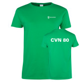 Ladies Kelly Green T Shirt-CVN 80 and 81