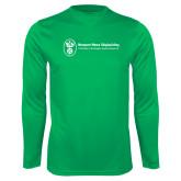 Performance Kelly Green Longsleeve Shirt-Newport News Shipbuilding