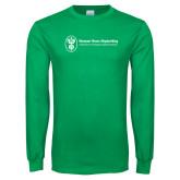 Kelly Green Long Sleeve T Shirt-Newport News Shipbuilding