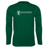Performance Dark Green Longsleeve Shirt-Newport News Shipbuilding