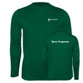 Performance Dark Green Longsleeve Shirt-Navy Programs