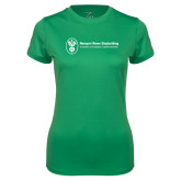 Ladies Syntrel Performance Kelly Green Tee-Newport News Shipbuilding