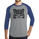 Grey/Royal Heather Tri Blend Baseball Raglan-NNS Vintage