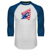White/Royal Raglan Baseball T Shirt-NNS Flag