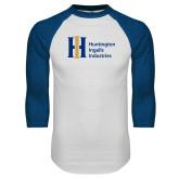 White/Royal Raglan Baseball T Shirt-Huntington Ingalls Industries