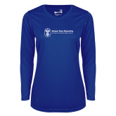 Ladies Syntrel Performance Royal Longsleeve Shirt-Newport News Shipbuilding
