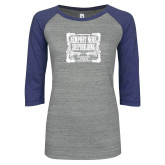 ENZA Ladies Athletic Heather/Blue Vintage Baseball Tee-NNS Vintage