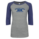 ENZA Ladies Athletic Heather/Blue Vintage Baseball Tee-NNS College Design