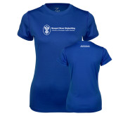 Ladies Syntrel Performance Royal Tee-Manufacturing and Material Distribution