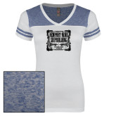 Ladies White/Heathered Royal Juniors Varsity V Neck Tee-NNS Vintage