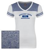 Ladies White/Heathered Royal Juniors Varsity V Neck Tee-NNS College Design