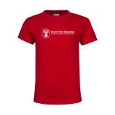 Youth Red T Shirt-Newport News Shipbuilding