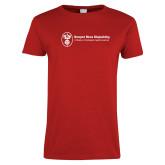 Ladies Red T Shirt-Newport News Shipbuilding