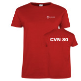 Ladies Red T Shirt-CVN 80 and 81
