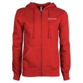 ENZA Ladies Red Fleece Full Zip Hoodie-Newport News Shipbuilding