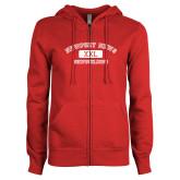 ENZA Ladies Red Fleece Full Zip Hoodie-NNS College Design