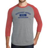 Grey/Red Heather Tri Blend Baseball Raglan-NNS College Design