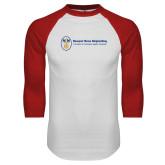 White/Red Raglan Baseball T Shirt-Newport News Shipbuilding