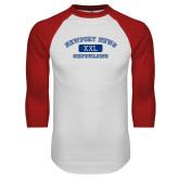 White/Red Raglan Baseball T Shirt-NNS College Design