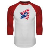 White/Red Raglan Baseball T Shirt-NNS Flag
