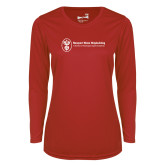 Ladies Syntrel Performance Red Longsleeve Shirt-Newport News Shipbuilding