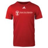 Adidas Red Logo T Shirt-Newport News Shipbuilding
