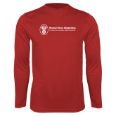 Performance Red Longsleeve Shirt-Newport News Shipbuilding
