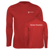 Performance Red Longsleeve Shirt-Nuclear Propulsion