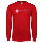 Red Long Sleeve T Shirt-Newport News Shipbuilding