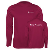 Performance Maroon Longsleeve Shirt-Navy Programs