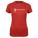 Ladies Syntrel Performance Red Tee-Newport News Shipbuilding