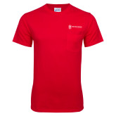 Red T Shirt w/Pocket-Newport News Shipbuilding