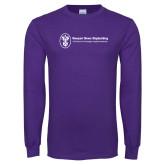 Purple Long Sleeve T Shirt-Newport News Shipbuilding