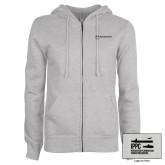ENZA Ladies Grey Fleece Full Zip Hoodie-IPPC