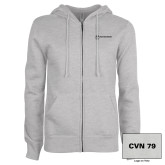 ENZA Ladies Grey Fleece Full Zip Hoodie-CVN 79