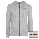 ENZA Ladies Grey Fleece Full Zip Hoodie-Navy Programs