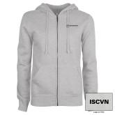 ENZA Ladies Grey Fleece Full Zip Hoodie-ISCVN