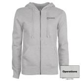 ENZA Ladies Grey Fleece Full Zip Hoodie-Operations