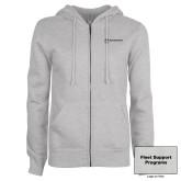 ENZA Ladies Grey Fleece Full Zip Hoodie-Fleet Support Programs