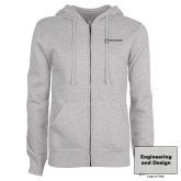 ENZA Ladies Grey Fleece Full Zip Hoodie-Engineering and Design